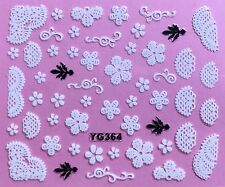 Nail Art 3D Decal Stickers White Flowers & Lace YG364 XF196