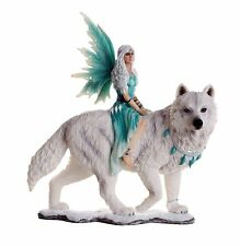 Tribal Snow Fairy w White Wolf Figurine Statue Faery Collection