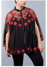 Jean Marc Philippe Jacket / Cape Leather Plus Size 20/22 Black / Red Color