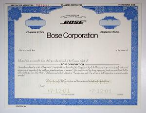 Bose Corp., 2001 Odd Shares Specimen Stock Certificate, VF ABNC