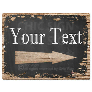 PP4271 YOUR TEXT Right Arrow Tin Chic Sign Home Decor