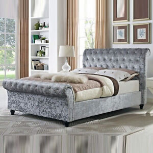 New Crushed Velvet Sleigh Bed with Headboard and Mattress All Sizes Available
