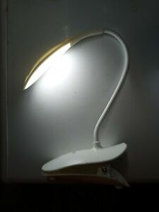 Rechargeable LED Clip-on Desk Lamp with USB Charging Port. Flexible Gooseneck