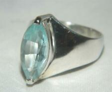 Blue Topaz Marquis Faceted Stone Ring, Sterling Silver .925 size 6 aprox. 2.5 CT