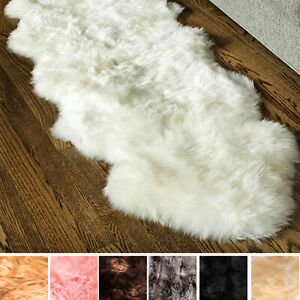Genuine Sheepskin Rug Bedside Hallway Two Pelt Natural Fur, Double 2' x 6'