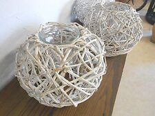 3 Rubbed White Large Gorgeous Wicker Bases For Flowers Or Candles Frontgate