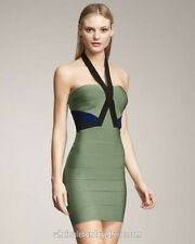 HERVE LEGER Bodycon Knit Dress Bandage Mini Halter Green, Small, AS NEW