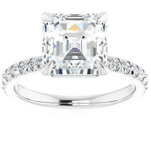 G/VS 5.33Ct Asscher Cut & Diamond Engagement Ring in White, Yellow, or Rose Gold