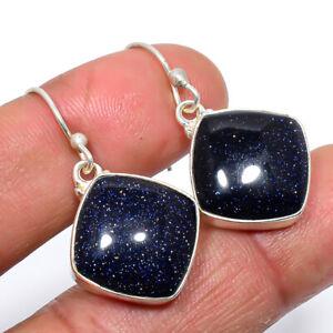 """Blue Sunstone 925 Sterling Silver Jewelry Earring 1.3"""" T2982"""