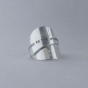 """Spoon Ring Stunning Handmade Antique Sterling Silver """"I love you....."""" date 2021"""