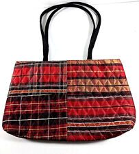 Vera Bradley Quilted Plaid Silk Tote Bag Red Multi