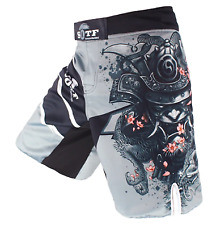 MMA Men's Japanese Warrior Gray Sports Muay Thai Boxing Shorts  Free Shipping