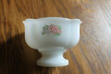 Avon Milk Glass Dish Footed Bowl Pink and Green Flowers