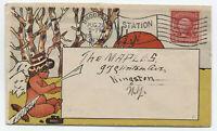 1904 Brooklyn NY indian child artist allover illustrated ad flag cancel [y4006]