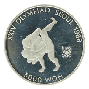 South Korea - Silver 5000 Won Coin - 'Korean Wrestling' - 1988 - Proof