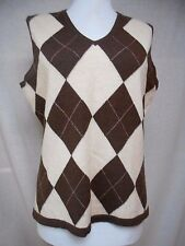 Peter Millar 100% Cashmere Sweater Vest Sz M V-Neck Brown Pink Classic Golf