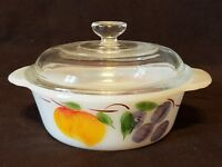 ANCHOR HOCKING Fire King Overware 1 PT. Covered Casserole Quiche Bowl
