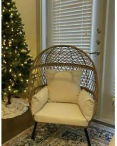 Egg Chair with Off-White Cushions  Outdoor Wicker Resin Patio New Furniture