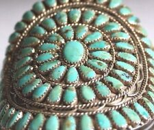 Vintage Benson Boyd signed Old Pawn PetitPoint .925 Turquoise Cluster Bracelet