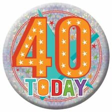 Holographic Happy 40th Birthday Badges 40 Today Party Accessories