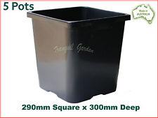 290mm Square Black Plastic Pot x5