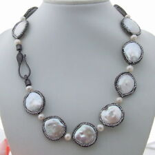 """natural White Coin freshwater Pearl trimmed with black macarsite 20"""" Necklace"""