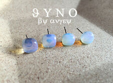 Natural cute Creative stone features opal 10mm stone earrings silver stud A Pair