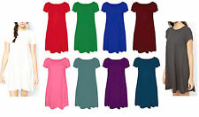 Womens Plain Jersey Tartan Print Cap Sleeve Ladies Party Swing Skater Dress 8-24