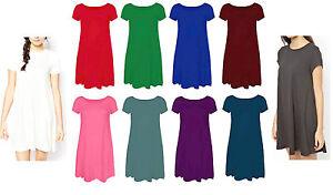 Womens Plain Jersey Cap/Short Sleeve Ladies Party Swing Skater Dress Sizes 8-18