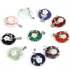 Rare Jewelry 10pcs Multi Agate Onyx Flower Carved Shell Gems Silver Pendants Set