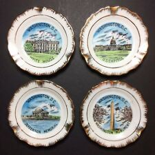 Vintage Set of 4 Washington D.C. Collectible Souvenir Ashtrays / Plates 3 7/8""