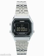 Casio LA680WA-1B Ladies Mid-Size Silver Digital Retro Vintage Watch Black Dial