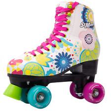 Roller Skates for Women Size 5.5 Purple Pink Print Flower 4-wheel Derby Quad