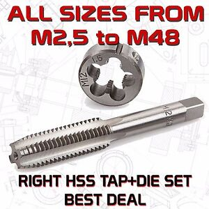 TAP + DIE SET HSS RIGHT ALL SIZES from M2,5 to M48 - 67 Variations Made in EU