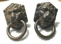 2X Vintage Victorian Lion Head Lionhead Door Knocker Knobs Handles Bronze Brass