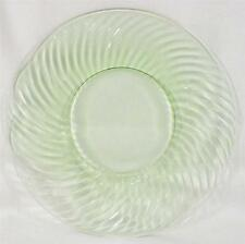 Green Depression Glass Swirl Salad Plate Vintage Unknown Maker 8.25 in NICE COND