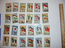 24 VINTAGE CIGARETTE TOBACCO COUNTRY FLAGS TRADING CARDS PRINTED IN USA