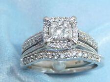 10K White Gold Wedding Set, 55 Diamonds, TCW, .60, Size 5.5