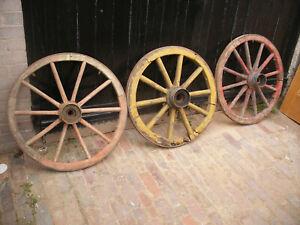 Ancient original wooden cart wheels