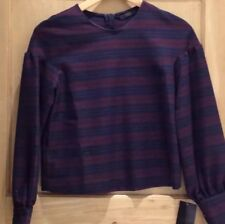 ZARA top size S Stripe BNWT Long Sleeve Fluted Burgundy NAVY blue