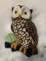 Vintage OWL Ceramic Hand Painted Hoot Owl on Branch Wall Hanging Plaque