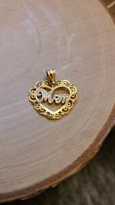 14k Two Tone Yellow Gold Mom Heart Pendant/ Charm  Mothers Day Gifts