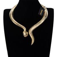 Fashion Gold Snake Choker Chunky Pendant Chain Statement Necklace Bib Jewelry