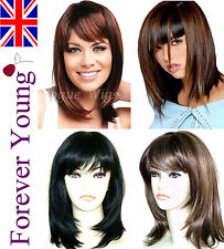 Ladies Short Medium Wig Black Blonde Brown Fashion Wigs Forever Young Wigs UK