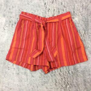 LOFT Ann Taylor Women's Shorts Size XS Red Orange Striped Linen Tie Front NEW