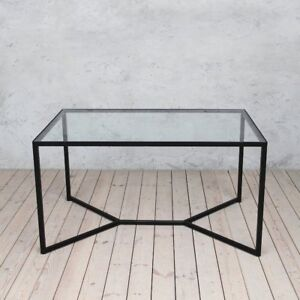 Glass Tower Industrial Style Solid Glass Metal  Dining Table Modern Urban