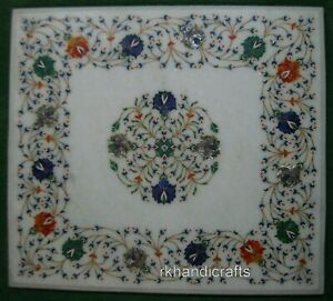 21 x 24 Inches Floral Border Pattern Coffee Table Top Gemstones Center Table