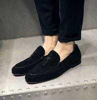 Fashion men's casual slip on loafer suede pointed toe dress formal loafers shoes