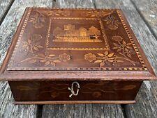 More details for antique c19th treen killarney ware decorated irish  box