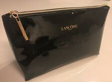 Lancome black Cosmetic Makeup Bag Patent faux leather toiletry pouch case NEW